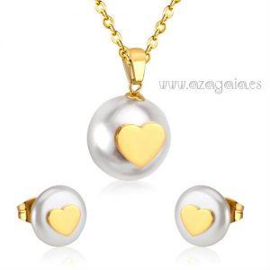 Conjunto perla corazón acero chapado oro-colgante con pendientes a juego