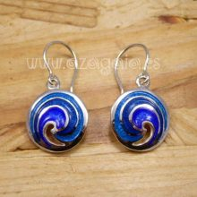 Pendiente olas plata y esmalte azul artesanía de galicia