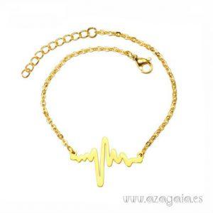 Pulsera electrocardiograma latidos del corazón acero chapado en oro