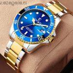 Reloj tipo rolex esfera azul correa acero franja acabada oro