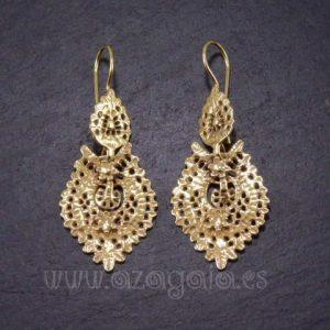 Pendiente baile regional-gallego-luso-plata chapada en oro