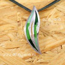 Colgante hoja plata 925 y esmalte-Artesanía de Galicia-
