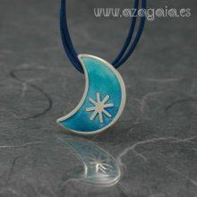 Colgante luna plata-esmalte azul