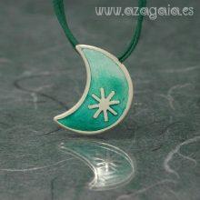 Colgante luna plata esmalte turquesa