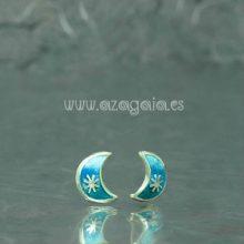 Pendiente luna plata esmalte azul-cierre presión