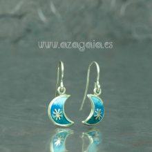 Pendiente luna plata-esmalte azul