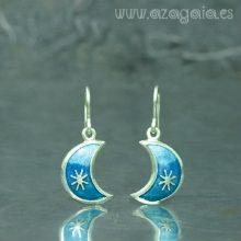 Pendiente luna plata con esmalte azul
