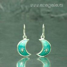Pendiente luna plata con esmalte turquesa