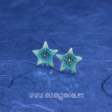 Pendiente estrella de mar plata y esmalte