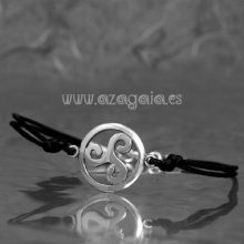 Pulsera trisquel plata cordón negro