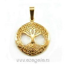 Colgante árbol de la vida Celta Plata Chapada en oro
