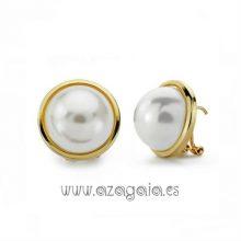 Pendiente media Perla 14 mm Chapado en oro cierre omega