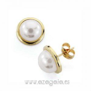 Pendientes media perla cierre presión chapados en oro