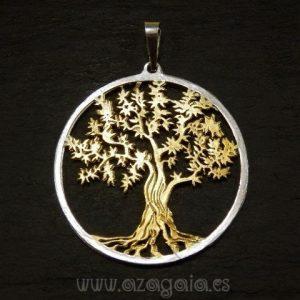 Colgante árbol de la vida plata y oro