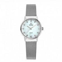 Reloj esfera nácar blanco-mujer-correa acero-marca-wwoor