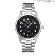 Reloj esfera negra números blancos-correa acero