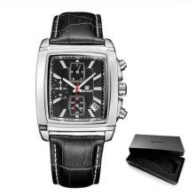 Reloj rectangular negro cronógrafo correa piel-hombre-marca Megir