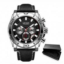 Reloj negro cronógrafo correa piel-hombre-marca Megir