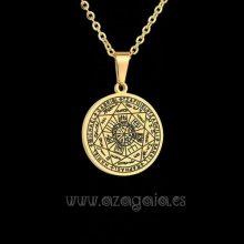 Colgante Protección 7 Arcángeles Sello de Salomón Acero chapado oro