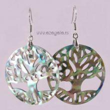 Pendiente árbol de la vida en nácar gancho plata 925