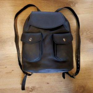 REBAJAS-Bolso mochila cuero negro