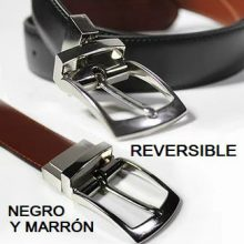 Cinturón cuero reversible negro y marrón