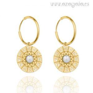 Pendiente aro plata chapado en oro símbolos del zodíaco