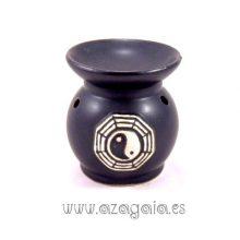 Quemador aceite esencial cerámica yin yang color negro