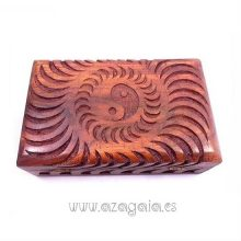 Caja madera tallada Yin Yang