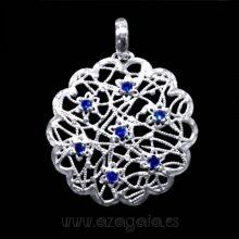 Colgante filigrana flor plata 925 piedra azul zafiro