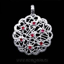 Colgante filigrana flor plata 925 piedra rojo rubí