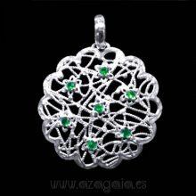 Colgante filigrana flor plata 925 piedra verde esmeralda