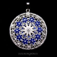 Colgante plata esmalte blanco flores azules