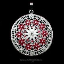 Colgante plata esmalte blanco flores rojas