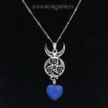 Collar acero trisquel-luna-corazón-piedra-lapislazuli