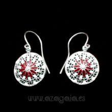 Pendiente plata esmalte blanco flores rojas
