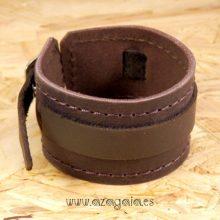 Pulsera muñequera cuero marrón chocolate con hebilla