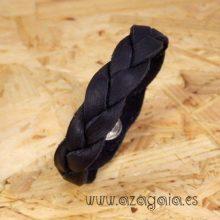 Pulsera cuero trenzado negro