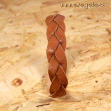 Pulsera cuero trenzada marrón claro