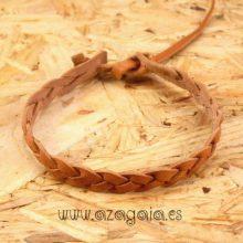Pulsera cuero trenzado marrón claro