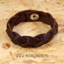 Pulsera cuero trenzado marrón oscuro