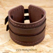 Pulsera muñequera cuero marrón chocolate con dos hebillas