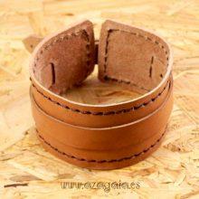 Pulsera muñequera cuero marrón con hebilla
