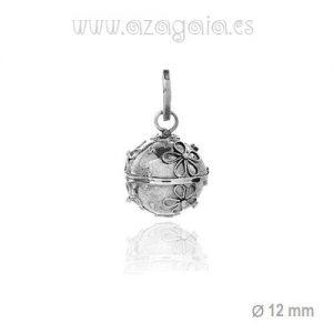 Colgante llamador de ángel diámetro 12 mm plata de ley