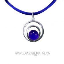 Colgante plata círculos cristal azul