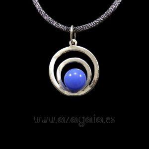 Colgante plata círculos cristal azul claro