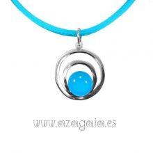 Colgante plata círculos cristal azul turquesa