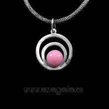 Colgante plata círculos cristal color rosa