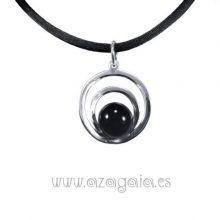 Colgante plata círculos cristal negro