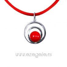 Colgante plata círculos cristal rojo